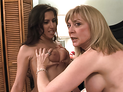 Two sexy chicks talking together later on their lesbian scene !